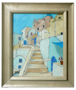 you have a painting to frame framed oia cyclads upstairs