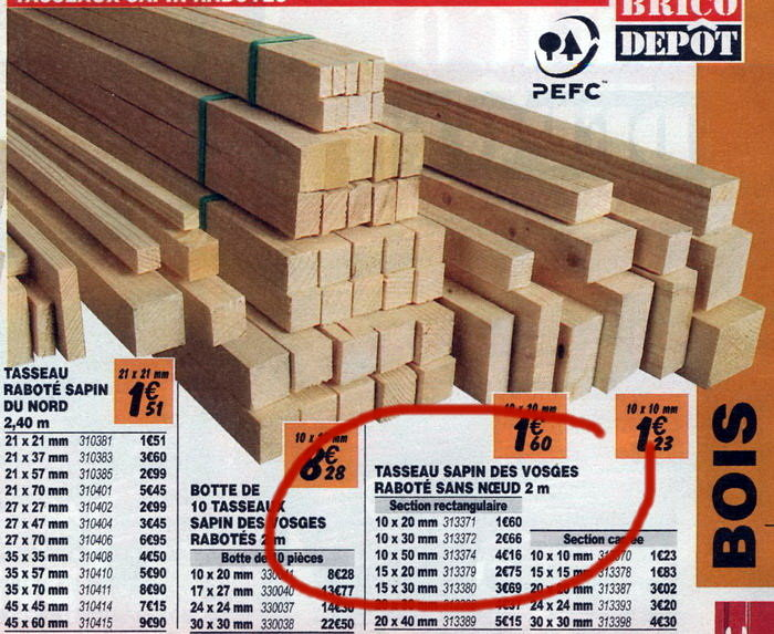 wood strips with rectangular section 15x05 you will find them in your local hardware shop or do it yourself shop