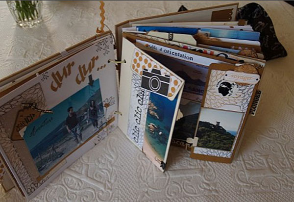 travel diary making of with scrapbooking technics. Black Bedroom Furniture Sets. Home Design Ideas